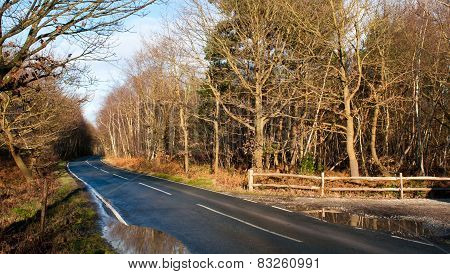 English Country Road In The Countryside Of Kent, Uk