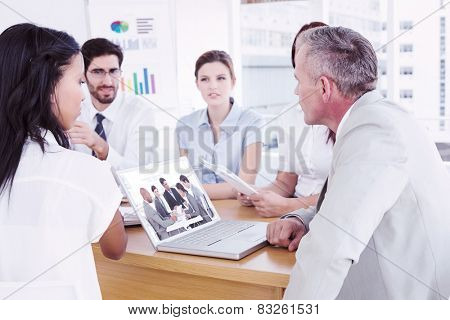 Business people disscussing a budget plan against business team discussing work details