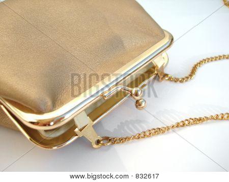 Golden handbag over white background