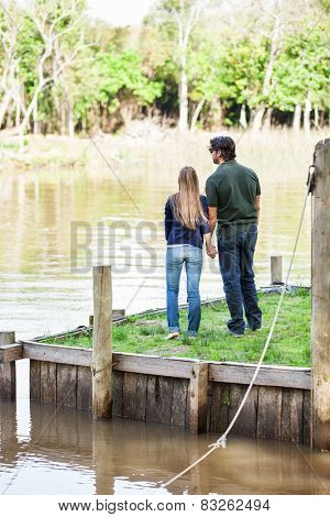 Full length rear view of young couple holding hands on pier in park