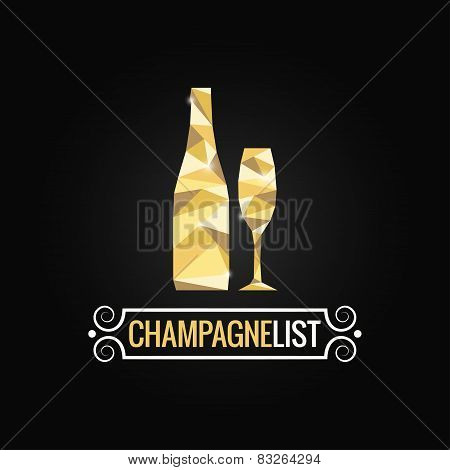 champagne bottle poly design background