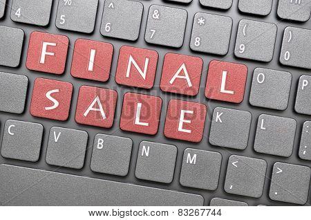 Red final sale key on keyboard