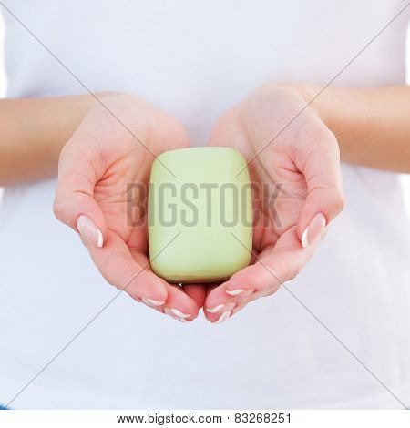Woman With Soap Bar.