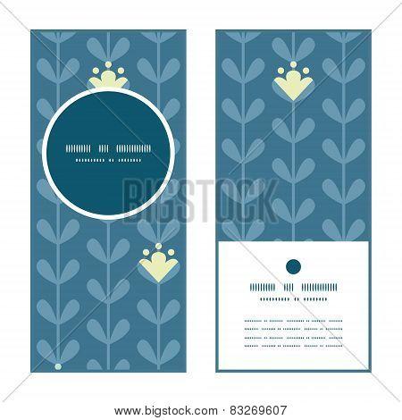 Vector blloming vines stripes vertical round frame pattern invitation greeting cards set