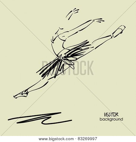 art sketched beautiful young ballerina with tutu in fly dance