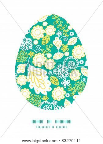 Vector emerald flowerals Easter egg sillhouette frame card template