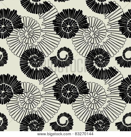 art black graphic geometric seamless pattern, square background with spiral ornament in art deco style