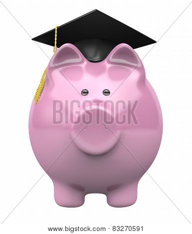 Piggy bank wearing a graduation cap, savings fund for college education