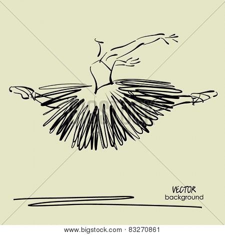 art sketched beautiful young ballerina with long tutu in fly dance