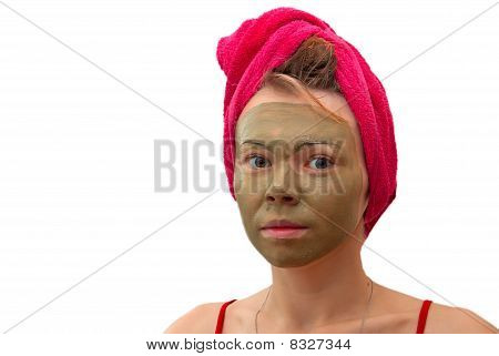 Girl In A Towel And A Mask
