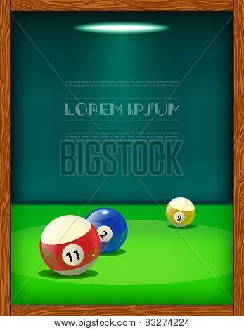 Cool billiard poster with colorful balls