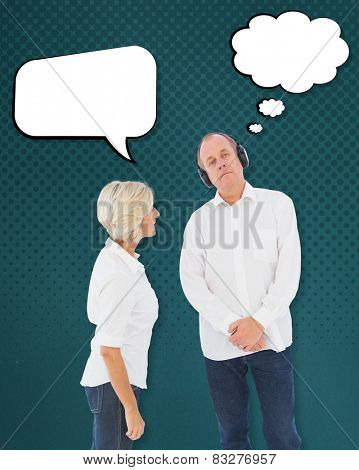 Annoyed woman being ignored by her partner against teal