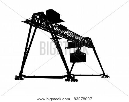 Black Silhouette Isolated On White, Bridge Gantry Crane