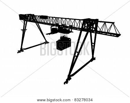 Gantry Crane, Silhouette Isolated On White, Perspective