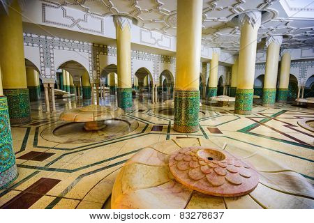 CASABLANCA, MOROCCO - The Wudu wash room of Hassan II Grand Mosque. The ritual of washing is performed before formal prayer.