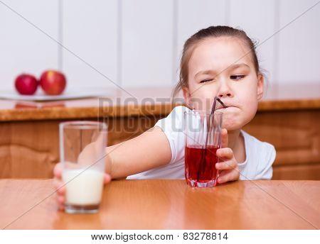 Cute Girl Is Drinking Cherry Juice