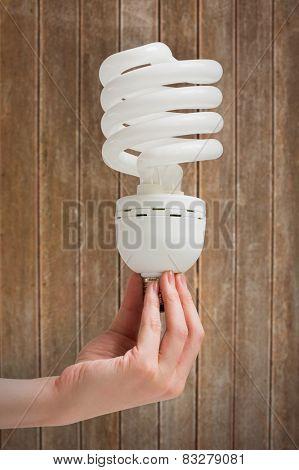 Hand holding energy efficient light bulb against wooden planks background