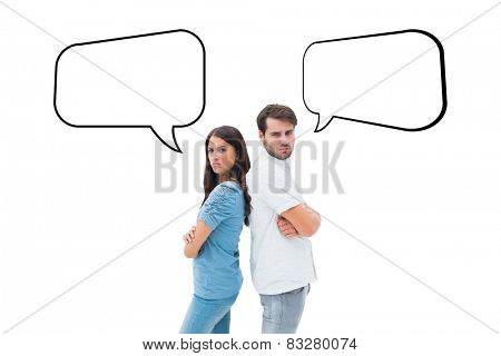 Upset couple not talking to each other after fight against speech bubble