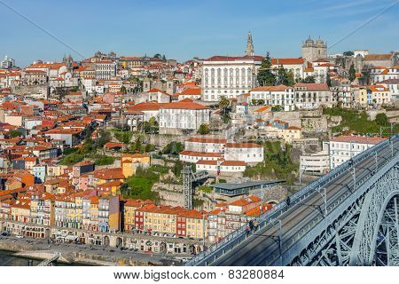 View of the iconic Dom Luis I bridge that crosses the Douro River, and the historical Ribeira and Se District in the city of Porto, Portugal. Unesco World Heritage Site.