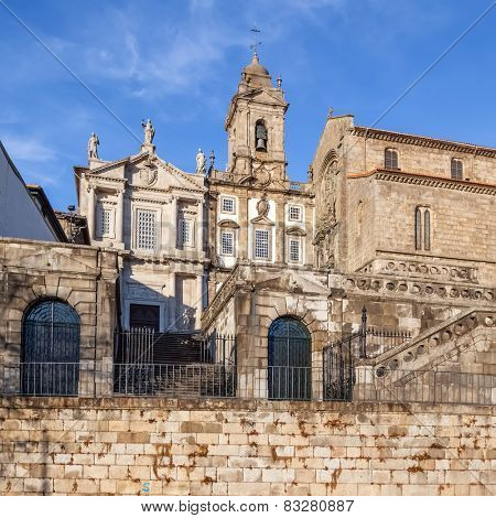 Sao Francisco Church, right, 14th century Gothic architecture. Terceiros de Sao Francisco Church, left, in Neoclassical architecture. Unesco World Heritage Site