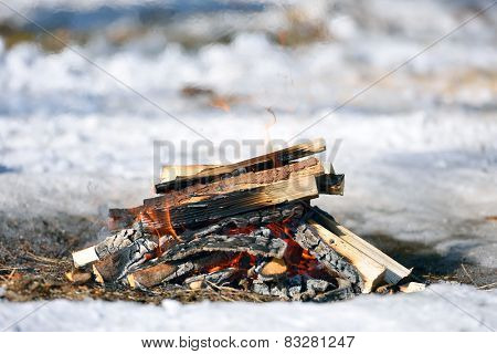 Close Up of Camping Fire
