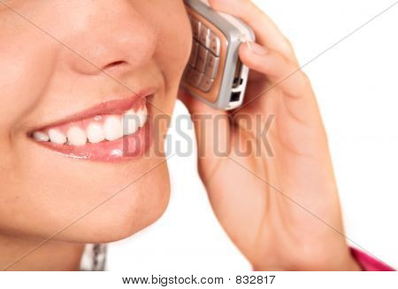 girl on the phone - mouth close up