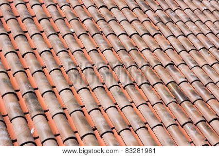 Closeup Of Many Red Clay Roof Tiles