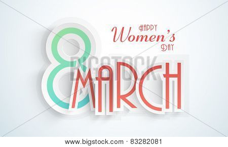 Happy Women's Day celebration with paper text 8 March on shiny background.