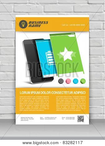 Professional one page business flyer, template or banner for mobile user interface.