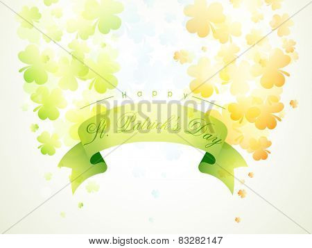 Creative poster or banner design with falling shamrock leaves for Happy St. Patrick's Day celebration.