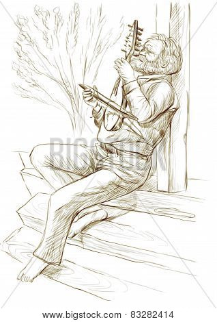 Gadulka Player. An Hand Drawn Full Sized Illustration, Original.
