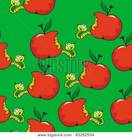 worm and apple seamless pattern cartoon illustration