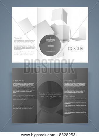 Professional tri-fold, flyer, template or brochure design for your business with 3D cubes.