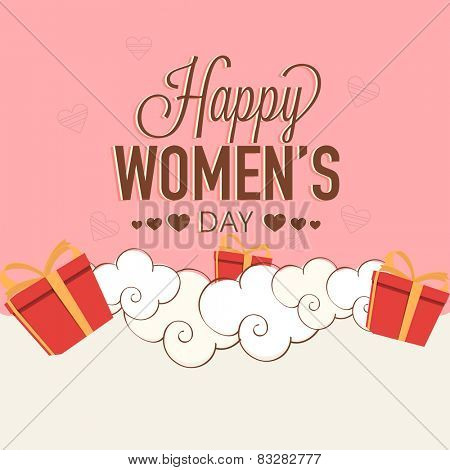 Elegant greeting card design for International Women's Day celebration with gifts on pink and white background.