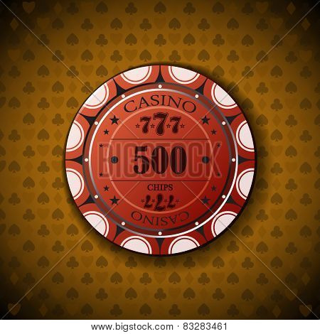 Poker Chip Nominal Five Hundred, On Card Symbol Background