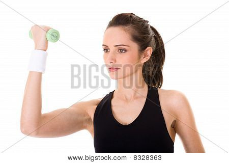 Young Attractive Female Exercise Using Green Half Kilogram Weights, Isolated