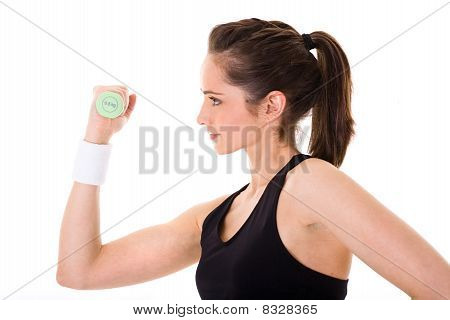 Young Attractive Female Exercise Using Green Half Kilogram Weights