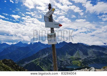 Tatra Panorama From The Mountain Pass Routes Krzy?ne And Signpost.
