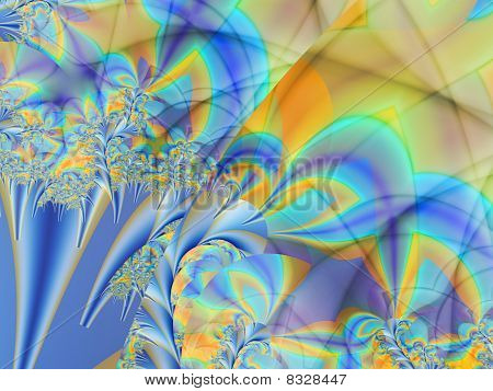 abstract garish colors on simulated silk