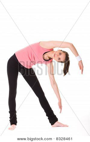 Young Female Doing Some Exercises On White Floor, Isolated