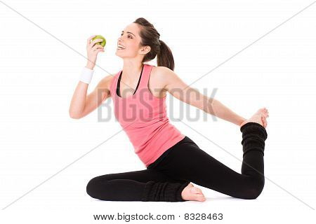 Young Attractive Female With Green Apple, Isolated On White