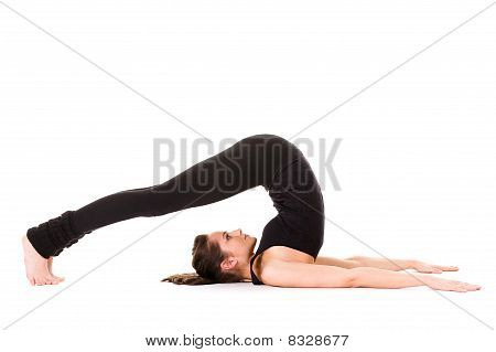 Young Woman Stretching, Isolated On White
