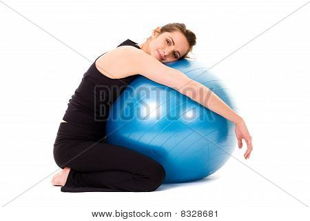 Young Happy, Very Attractive Female With Blue Fitness Ball, Isolated On White