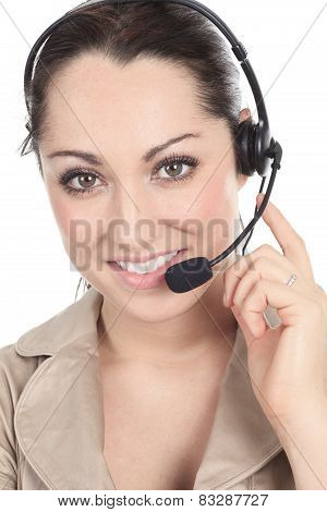 Customer support operator close up portrait.  call center smilin