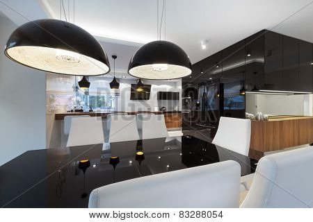 Modern Kitchen Interior Design With Black Table