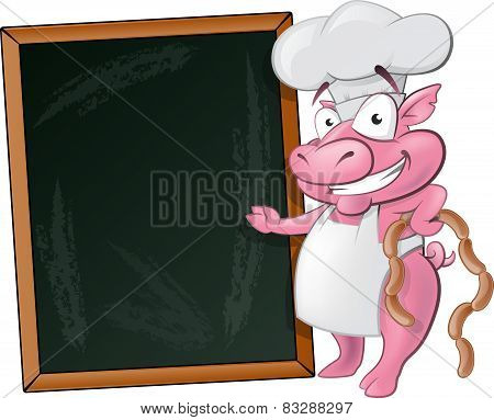Cute Pig Chef Character With Chalk Board.