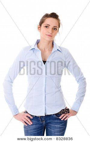 Very Attractive Young Female In Blue Shirt, Isolated On White