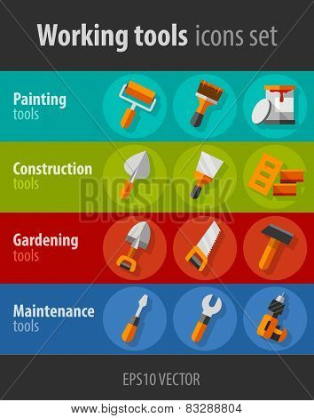 Working tools for construction and maintenance flat icons set. Eps10 vector illustration