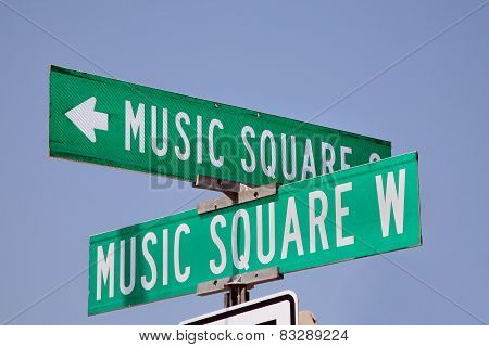 Music Square street sign in Nashville, Tennessee