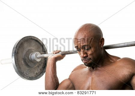Muscle Man Holding Barbell
